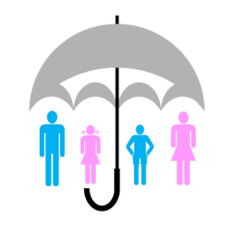 a vector graphic showing an umbrella covering people like credit insurance.